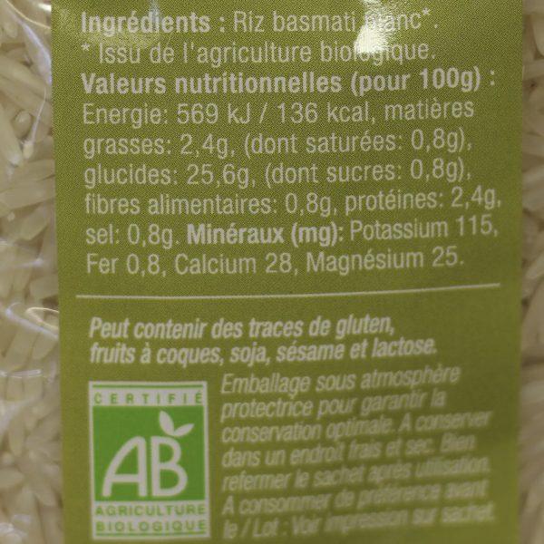 Riz Basmati blanc biologique