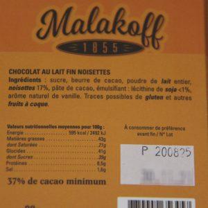 Chocolat Malakoff Lait-noisettes