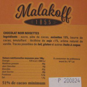 Chocolat Malakoff Noir-noisettes